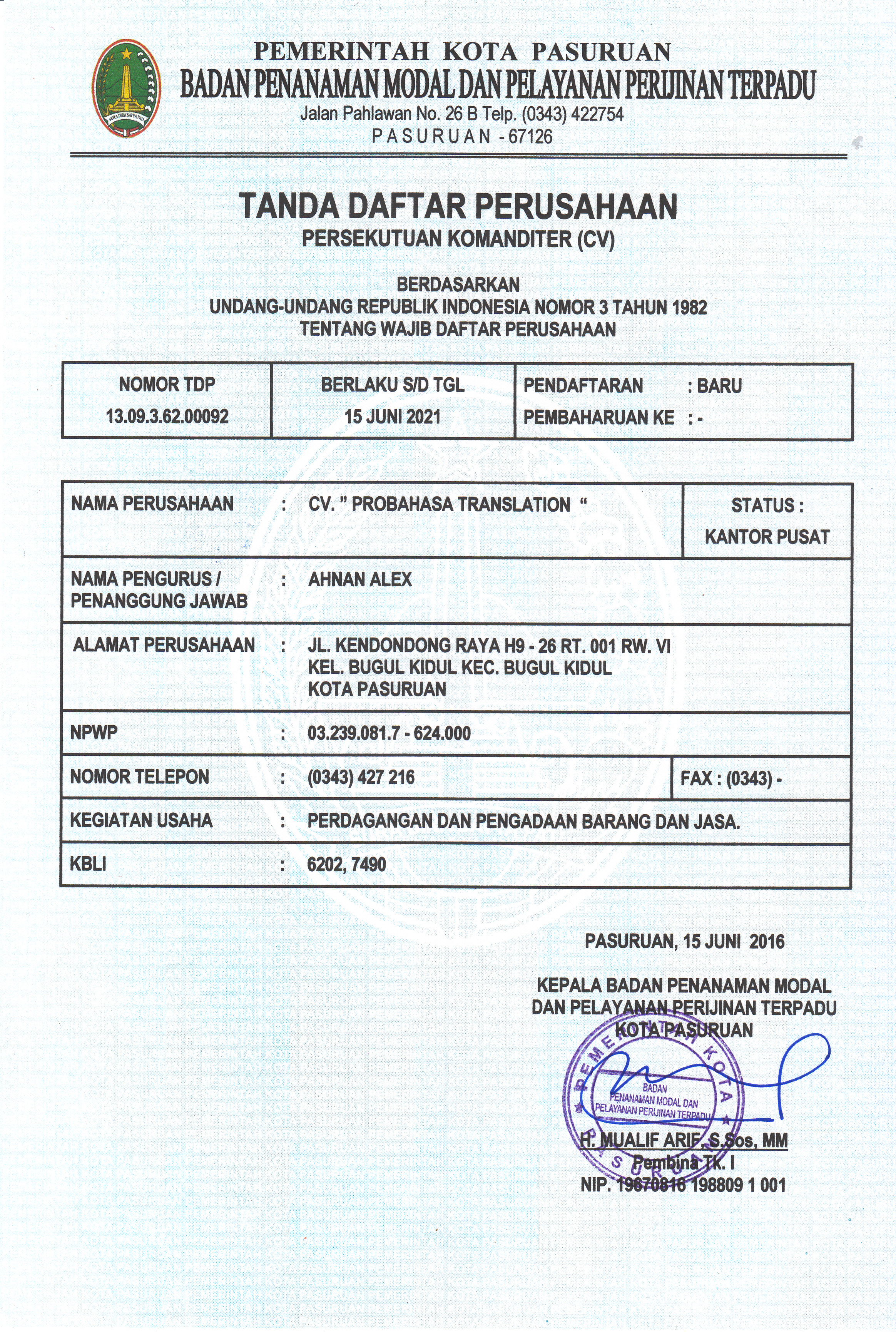 ProBahasa Translation Company Register Number