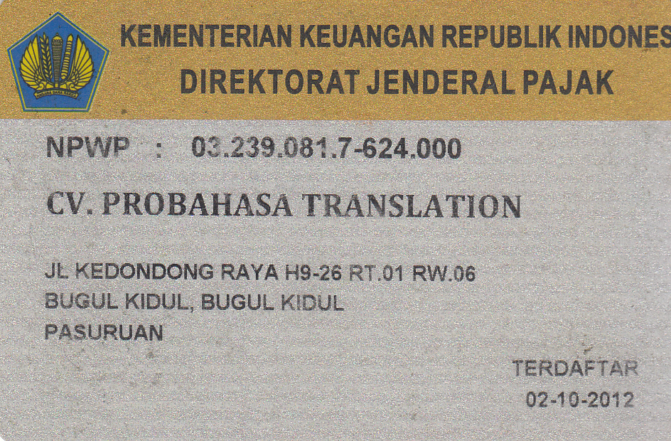 NPWP ProBahasa Translation